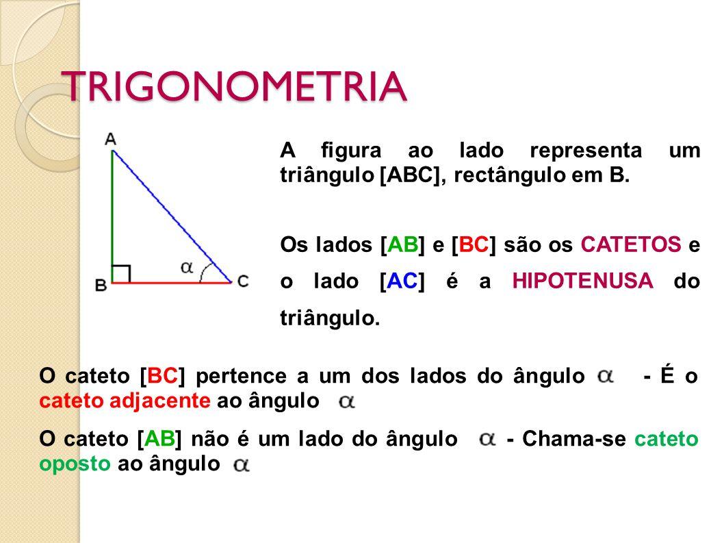 TRIGONOMETRIA A figura ao lado representa um triângulo [ABC], rectângulo em B.
